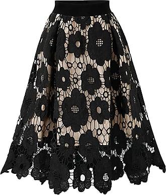 QIYUN.Z Womens Basic Solid Flared Lace Stitching Mini Skater Skirt Black One Size