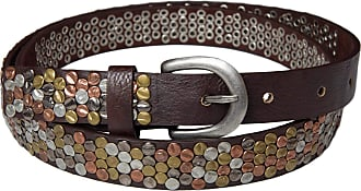 styleBREAKER studded belt with multi-colored rivets in vintage style, shortenable, narrow 03010012, size:95cm, color:Dark Brown