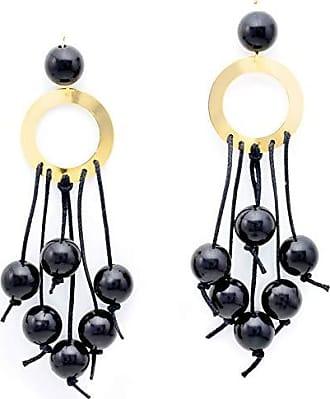 Tinna Jewelry Brinco Roda Vazada Com Bolas De Resina E Cadarço (Preto)