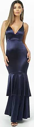 Forever 21 Forever 21 Satin Tiered Mermaid Maxi Dress Navy