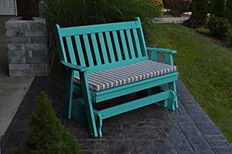 A & L Furniture A & L Furniture 870-AB Aruba Blue Poly Traditional English Glider Bench, Aruba Blue