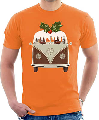 Volkswagen Christmas Pudding Camper Mens T-Shirt Orange