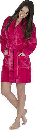 Forever Dreaming Ladies Flannel Fleece Dressing Gown (Sizes S-XL) Shawl Collar Soft Bath Robe Hot Pink