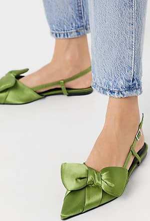 Asos Liliana pointed bow slingback ballet flats in green