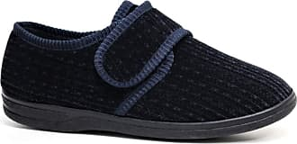 Northwest Territory DIABETIC ORTHOPAEDIC MENS EASY CLOSE WIDE FITTING TOUCH CLOSE BAR STRAP SHOE SLIPPER (11, Navy)