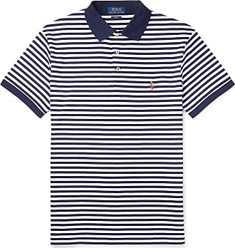 Polo Ralph Lauren Slim-fit Striped Cotton-jersey Polo Shirt - Navy