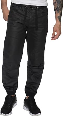 Enzo Jeans New Mens Cuffed Jeans Ez377 Denim Regular Fit Joggers Style in Black Sizes 28-48 (42R)