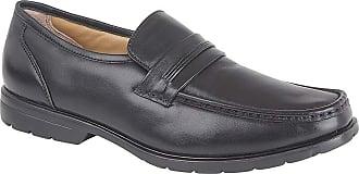 Roamers Softie Leather Saddle Moccasin Slip On Comfot Shoes - Black Leather, Mens UK 11 / EU 45