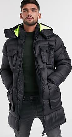 Brave Soul Lange, wattierte Utility-Jacke mit Kapuze mit neonfarbenem Futter-Schwarz