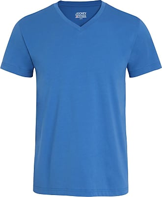 Jockey Jersey Cotton V-Neck Mens T-Shirt, Blue Medium