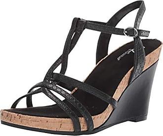 Aerosoles A2 Womens Plushed Nickel Wedge Sandal Black Snake 10.5 M US