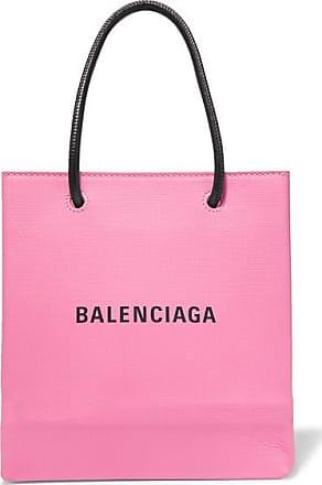 Balenciaga Xxs Printed Textured-leather Tote - Pink