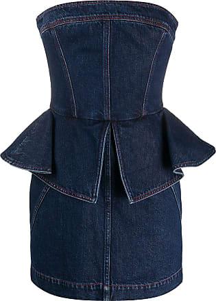 Philosophy di Lorenzo Serafini strapless peplum-style denim dress - Blue