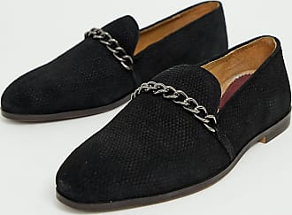 4756b2e0f85 House Of Hounds House Of Hounds Wide Fit Cerbus chain loafers in black -  Black