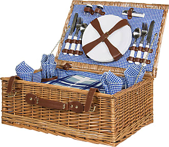 Best Choice Products 4-Person Picnic Basket Set w/ Blanket - Brown