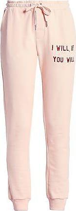 Zoe Karssen Zoe Karssen Woman Embroidered French Cotton-terry Track Pants Blush Size XS