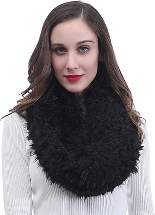 Lina & Lily Womens Infinity Tube Winter Scarf Snood Faux Fur Fluffy (Black)