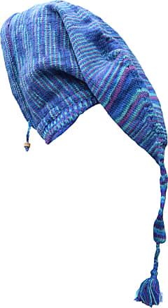 Gheri Woolen Fleece Lined Pixie Pointed Long Snood Hood Neckwarmer Wizard Hat Blue Tie Dye