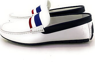 U.S.Polo Association U.S. Assn U.S. Polo ASSN Leather Loafer with Tricolor Front Insert White Size: 10.5 UK