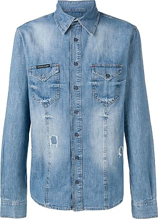 Philipp Plein distressed denim shirt - Blue