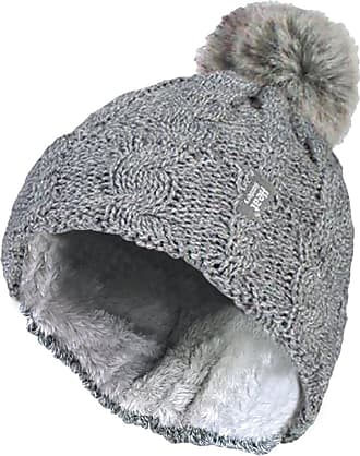 Heat Holders Ladies Warm Knit Fleece Lined Cuffed Thermal Winter Bobble Hat with Pom Pom (One Size, Light Grey)