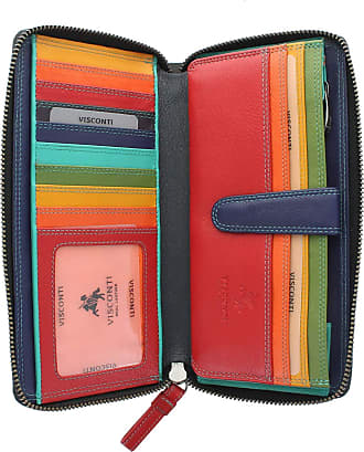 Visconti Leather Spectrum Collection IRIS Zip Round Purse with RFID Blocking SP33 Black/Hawaii