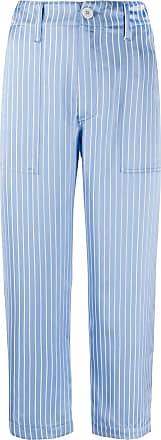 JEJIA Calça cropped cintura alta de cetim com listras - Azul