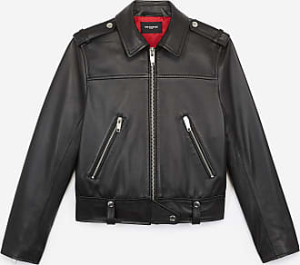 The Kooples Black biker jacket in leather with zips - WOMEN