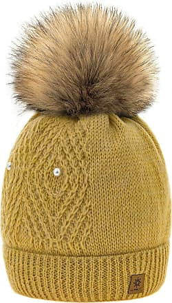4sold Women Ladies Chunky Soft Cable Knit Hat Natural Mohair Wool with Cosy Fleece Liner and Handmade Faux Fur Pompom (Lili Mustard)