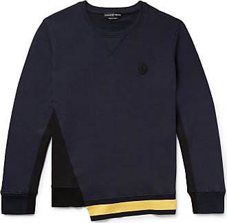 Alexander McQueen Appliquéd Striped Loopback Cotton-jersey Sweatshirt - Navy