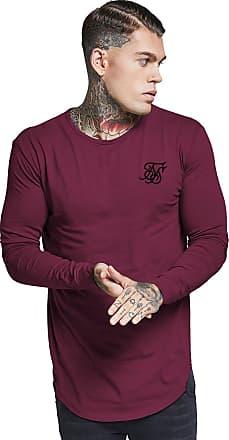 0dd12cbc Siksilk Sik Silk Mens Longsleeved Curved Hem Logo Gym T-Shirt, Red, X