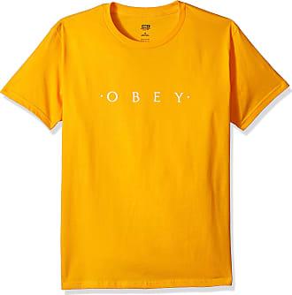 Obey Mens Novel Short Sleeve Lightweight Tshirt T-Shirt, Gold, XL