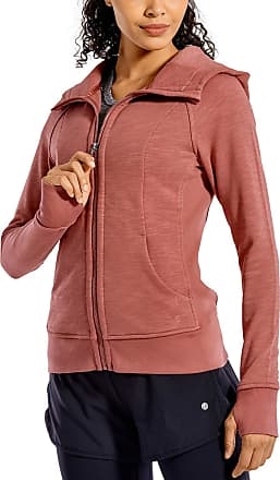 CRZ YOGA Womens Cotton Hoodies Sport Workout Full Zip Hooded Jackets Sweatshirt Red Bronzer 14