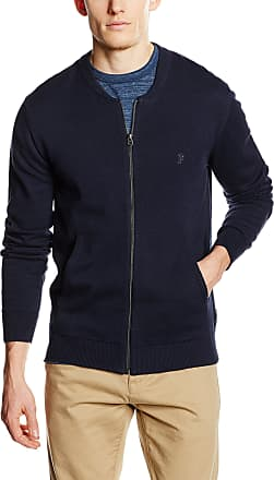 French Connection Mens Knitted Cotton Zip Through Jumper, Blue (Marine Blue 40), Medium