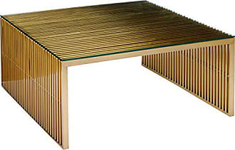 ModWay EEI-3037-GLD Gridiron Stainless Steel Coffee Table, Gold