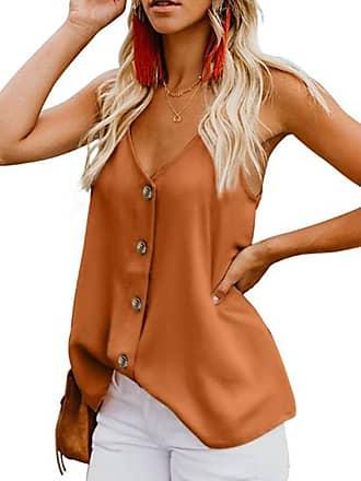 Yidarton Womens Summer Casual Loose V Neck Chiffon Button Down Spaghetti Strap Cami Vest Solid Color Tank Tops Sleeveless Shirt Blouse (Orange, XX-Large)