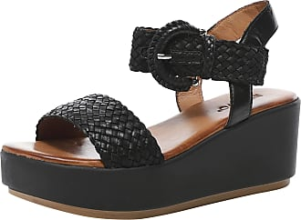 Inuovo Womens Woven Leather Wedge Sandals 8 Black