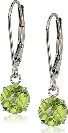 Amazon Collection 10k White Gold Round Checkerboard Cut Peridot Leverback Earrings (6mm)