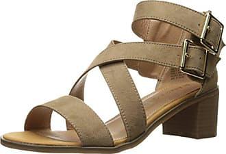 Rampage Womens Havarti Casual Buckle Block Heel Sandal, Taupe Micro, 6 M US