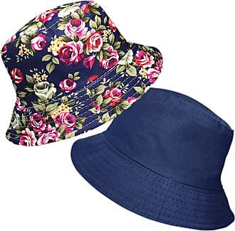 TOSKATOK Ladies Reversible Floral Cotton Bush Bucket Sun HAT Navy Multi