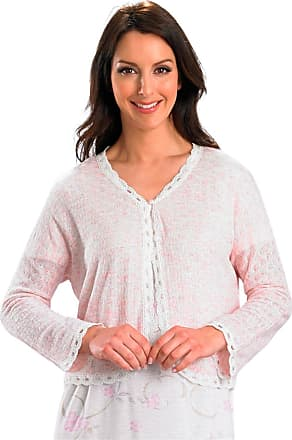 Slenderella Ladies 100% Acrylic Lightweight Bed Jacket Womens Button Cardigan with Scalloped Tulle Trim Small (Pink)