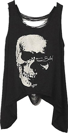 Xiaoli Black Colour Bollow Back T Shirt/Top with Skull Print