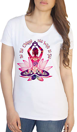 Irony Womens White T-Shirt Buddha Be The Change You Wish to See Zen Hobo Print TS226 (Small)