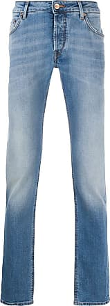 Hand Picked Calça jeans reta desbotada - Azul
