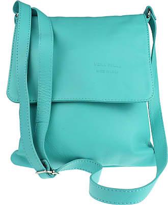 Girly HandBags Girly HandBags Genuine Soft Leather Italian Cross Body Shoulder Bag Flap Zipper - Turquoise