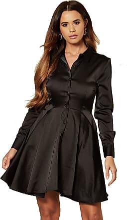 Unique21 Women Luxe Satin Shirt Dress - Ladies Casual Work Office Long Sleeve Blouse Mini Dress (10, Black)