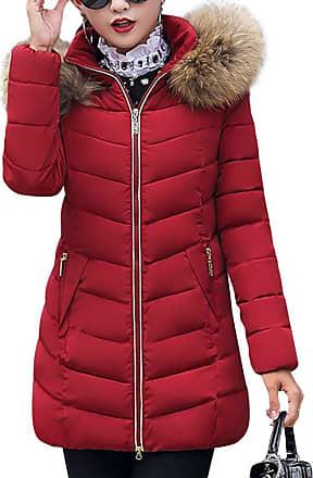 Daytwork Long Jackets Down Coat Women - Womens Winter Warm Warmer Hooded Fur Collar Cotton Coats Down Overcoats Quilted Padded Puffer Parka Slim Casual Sport R