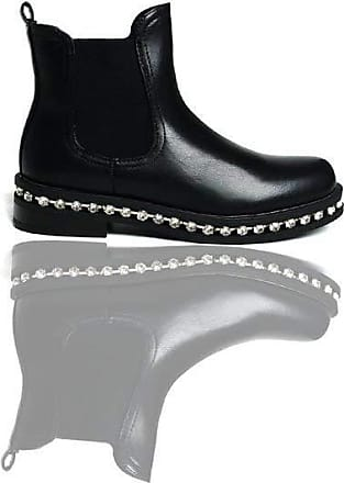 Ikrush Fifi Faux Leather Diamante Chelsea Boots Black PU UK 8