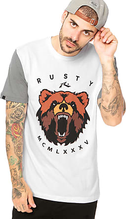 Rusty Camiseta Manga Curta Rusty Bears Msac Branca/ Cinza
