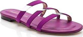Tamara Mellon Slit Magenta Fabric Sandals, Size - 35.5